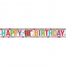 Multi Coloured Holographic Happy 18th Birthday Banner 2.7m