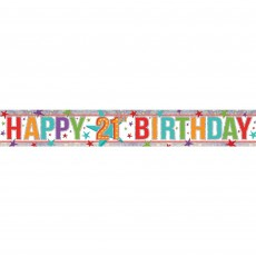 Multi Coloured Holographic Happy 21st Birthday Banner 2.7m