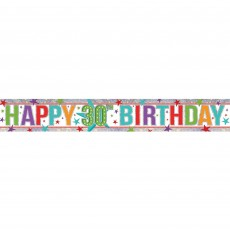 Holographic Happy 30th Birthday Banner 2.7m