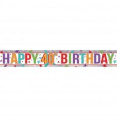 Holographic Happy 40th Birthday Banner 2.7m