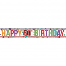 50th Birthday Holographic Banner
