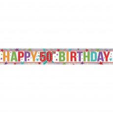 Holographic Happy 50th Birthday Banner 2.7m