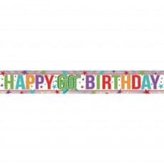 Holographic Happy 60th Birthday Banner 2.7m