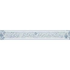 25th Anniversary Holographic Happy Wedding Annniversary Banner 2.7m