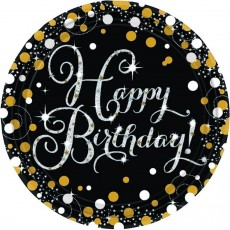 Happy Birthday Black, Gold & Silver Sparkling Dinner Plates