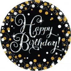 Round Black, Gold & Silver Sparkling Celebration Happy Birthday! Dinner Plates 23cm Pack of 8