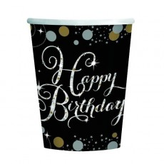 Black, Gold & Silver Happy Birthday Sparkling Celebration Paper Cups 266ml Pack of 8