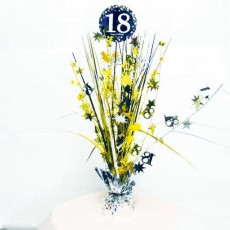 18th Birthday Black, Gold & Silver Sparkling Centrepiece