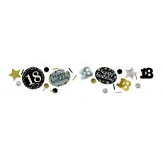 18th Birthday Black, Gold & Silver Sparkling Confetti