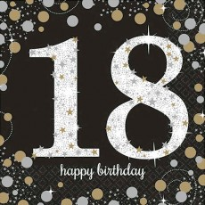 18th Birthday Black, Gold & Silver Sparkling Lunch Napkins