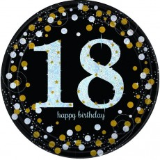 18th Birthday Black, Gold & Silver Sparkling Celebration Prismatic Dinner Plates