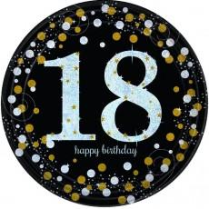 Round Black, Gold & Silver 18th Birthday Sparkling Celebration Prismatic Dinner Plates 23cm Pack of 8