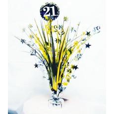 Black, Silver & Gold 21st Birthday Sparkling Celebration Spray Centrepiece 45cm