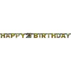 21st Birthday Black, Gold & Silver Sparkling Letter Banner Banner