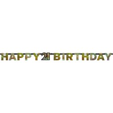21st Birthday Sparkling Celebration Prismatic Letter Banner 2.13m x 17cm