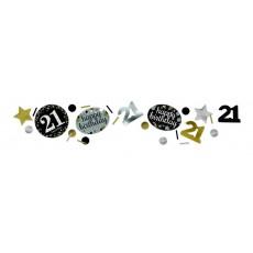 21st Birthday Black, Gold & Silver Sparkling Confetti