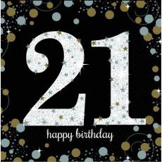 21st Birthday Sparkling Celebration Lunch Napkins 33cm x 33cm Pack of 16