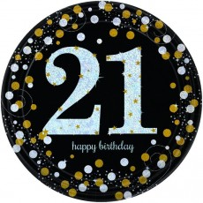21st Birthday Black, Gold & Silver Sparkling Celebration Prismatic Dinner Plates