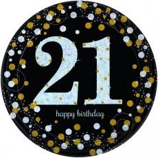 21st Birthday Black, Gold & Silver Sparkling Dinner Plates