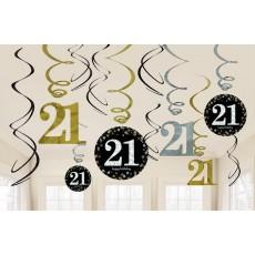 21st Birthday Black, Gold & Silver Sparkling Swirls Hanging Decorations