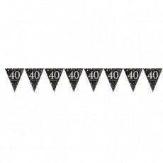 40th Birthday Sparkling Celebration Prismatic Pennant Banner