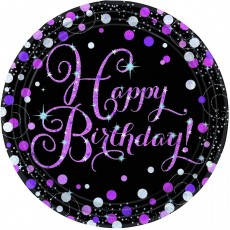 Happy Birthday Pink, Black & Silver Sparkling Dinner Plates