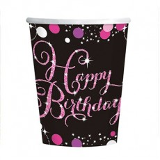 Happy Birthday Pink, Black & Silver Sparkling Paper Cups