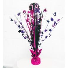 18th Birthday Pink, Purple & Black Sparkling Centrepiece