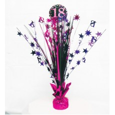 18th Birthday Pink, Purple, Black & Silver Pink Celebration Spray Centrepiece