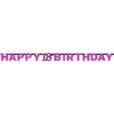 18th Birthday Pink, Black & Silver Sparkling Letter Banner Banner