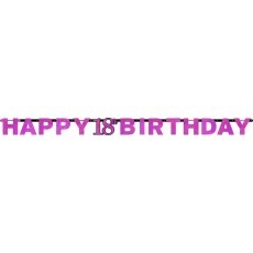 18th Birthday Pink Celebration Prismatic Letter Banner