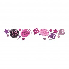 18th Birthday Pink, Purple & Black Sparkling Confetti