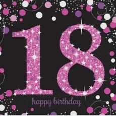 18th Birthday Black, Pink & Silver Sparkling Lunch Napkins