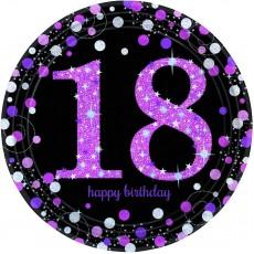 18th Birthday Pink, Black & Silver Sparkling Dinner Plates