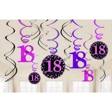 18th Birthday Black, Pink & Silver Sparkling Swirls Hanging Decorations