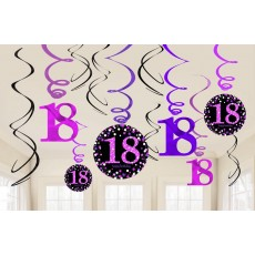 18th Birthday Pink Celebration Swirl Hanging Decorations