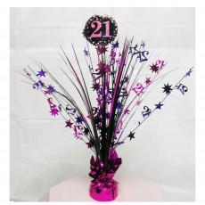 21st Birthday Pink, Purple & Black Sparkling Centrepiece