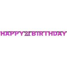 21st Birthday Pink Celebration Prismatic Letter Banner 2.13m x 17cm
