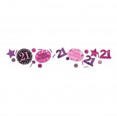 21st Birthday Pink, Purple & Black Sparkling Confetti