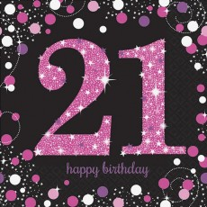 21st Birthday Black, Pink & Silver Sparkling Lunch Napkins