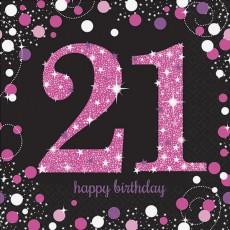 21st Birthday Pink Celebration Lunch Napkins 33cm x 33cm Pack of 16
