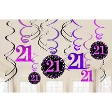 21st Birthday Black, Pink & Silver Sparkling Swirls Hanging Decorations