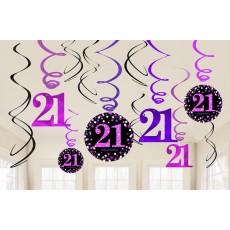 21st Birthday Pink Celebration Swirl Hanging Decorations Pack of 12