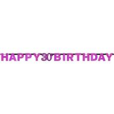 30th Birthday Pink Celebration Prismatic Letter Banner 2.13m x 17cm