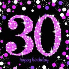 30th Birthday Pink Celebration Lunch Napkins 33cm x 33cm Pack of 16