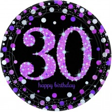 30th Birthday Pink Celebration Prismatic Dinner Plates