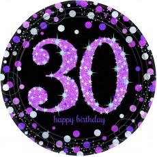 Round 30th Birthday Pink Celebration Prismatic Dinner Plates 23cm Pack of 8