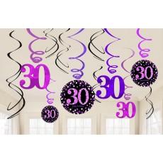 30th Birthday Pink Celebration Swirl Hanging Decorations Pack of 12