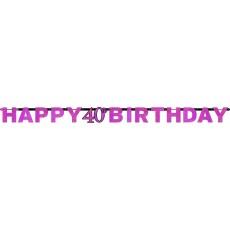 40th Birthday Pink Celebration Prismatic Letter Banner 2.13m x 17cm