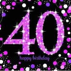 40th Birthday Pink Celebration Lunch Napkins 33cm x 33cm Pack of 16